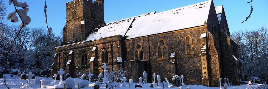 Shorne Church snow scence